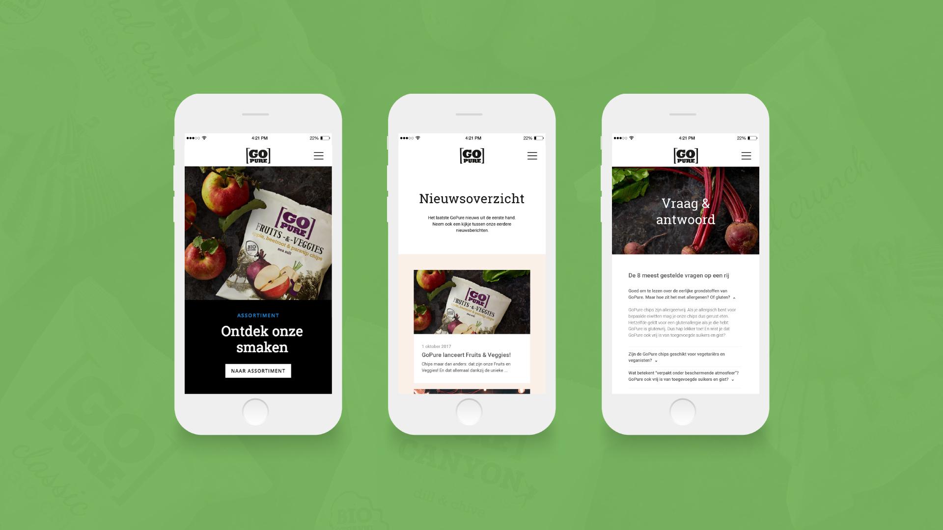 GoPure website mobiel – Dutchgiraffe   Digital Creatives