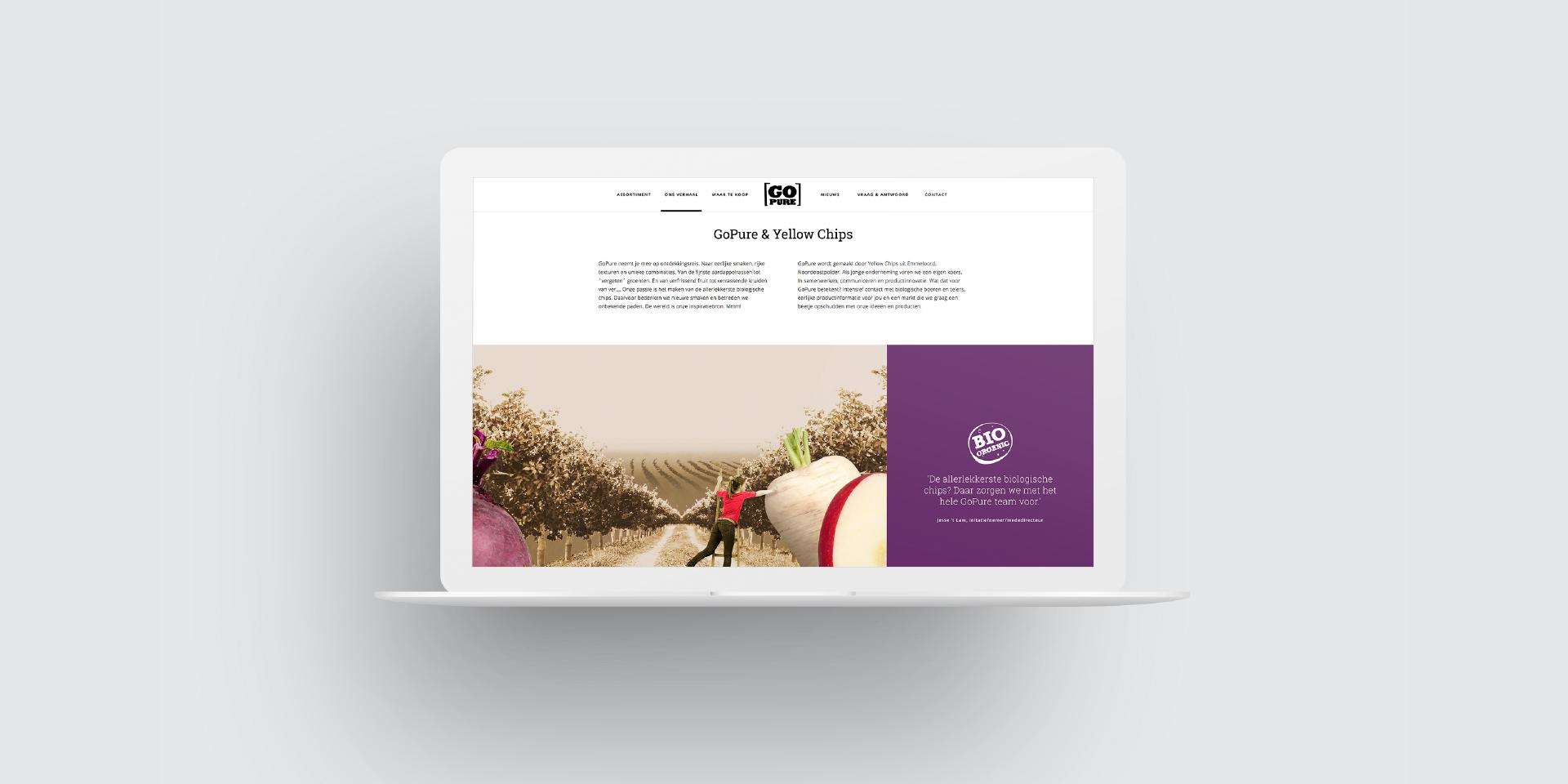GoPure & Yellow Chips website op laptop – Dutchgiraffe   Digital Creatives