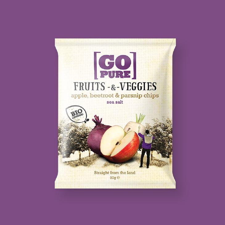 GoPure fruit & veggies chips verpakking – Dutchgiraffe   Digital Creatives